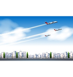 Three jets flying in the sky vector