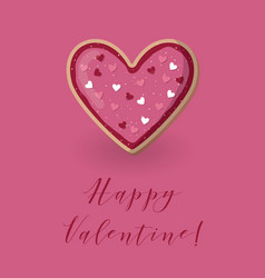 Valentine card with heart shape cookie love vector