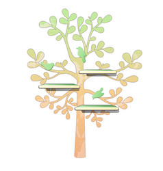 wall wooden shelves and tree pattern with birds vector image