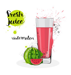 Watermelon juice fresh hand drawn watercolor fruit vector