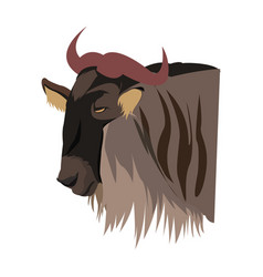 wildebeest head african wildlife animal vector image
