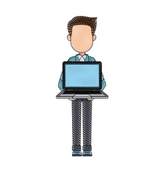 Young man holding laptop notebook standing vector