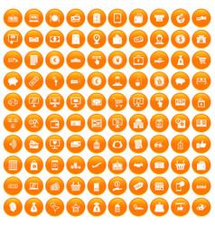 100 payment icons set orange vector