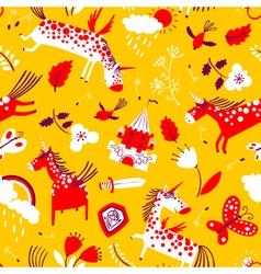 cute seamless pattern with magic unicorns vector image