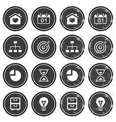 Website navigation icons on retro labels set vector image