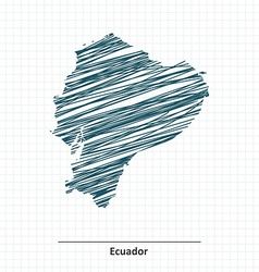 Doodle sketch of ecuador map vector