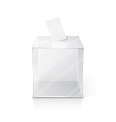 Realistic empty ballot box with voting paper vector