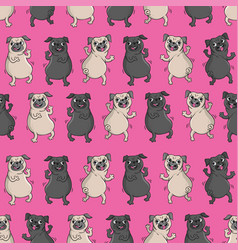Seamless pattern with funny dogs vector