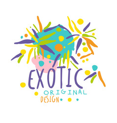 exotic logo original design summer travel hand vector image