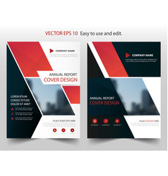 Red black abstract annual report brochure vector
