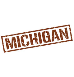 Michigan brown square stamp vector
