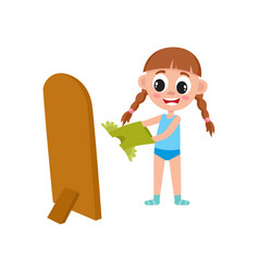 Flat girl dressing in front of the mirror vector