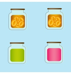 Bank with home canned peaches design vector