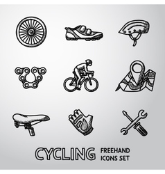 Set of cycling freehand icons - wheel shoe vector