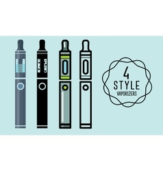 Set of flat icons vaporizers e-cigarette vector