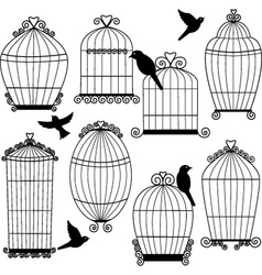 Birdcages and Birds Silhouette set vector image