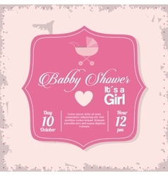 Baby shower design stroller icon pink vector