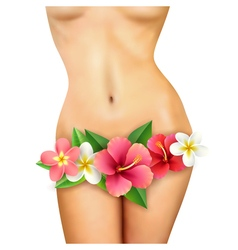 Slim woman body with flower vector
