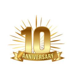 Anniversary golden ten years number vector