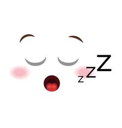 asleep face emoticon kawaii style vector image