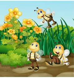 Bee in garden vector