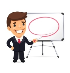 Businessman with marker in front of the whiteboard vector