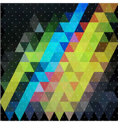 Colorful triangle in night sky with plus star line vector image