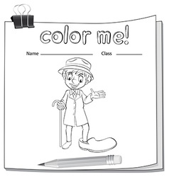 Coloring worksheet with an old man vector