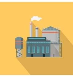 Factory with long shadow in flat style vector