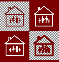 family sign bordo and white vector image