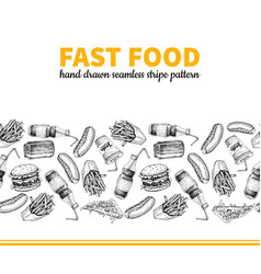 Fast food hand drawn seamless stripe vector