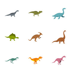 figures dinosaur icons set flat style vector image