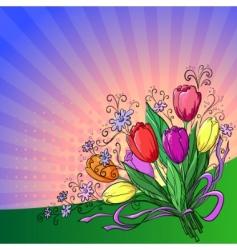 flower background tulips vector image
