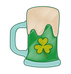 green beer glass foam and clover vector image