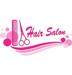 Hair salon sign with scissors and design elements vector