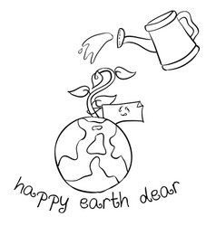 happy earth day hand draw world vector image vector image