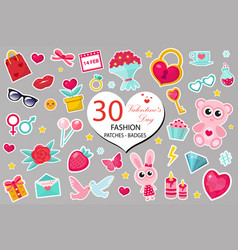 happy valentine s day fashion icons set or vector image