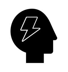 Human head profile with thunder vector