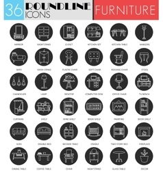 interior furniture circle white black icon vector image vector image