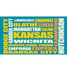 Kansas state cities list vector