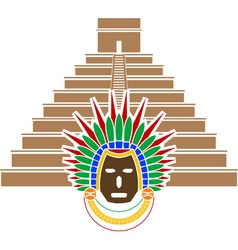 mayan pyramid and mask vector image