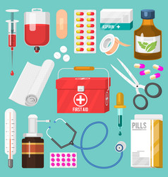 Medical instruments and doctor tools medicament in vector