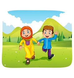 Muslim boy and girl holding hands vector