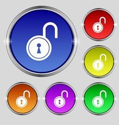 Open lock icon sign round symbol on bright vector