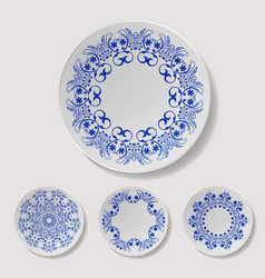 realistic plate set closeup porcelain vector image