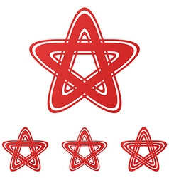 Red star logo design set vector