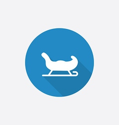 Santas sleigh Flat Blue Simple Icon with long vector image vector image