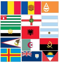 Set of 15 flags of countries started with a vector