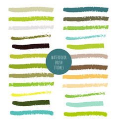 set of green hand painted watercolor stripes vector image vector image