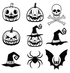 set of halloween icons halloween pumpkin bats vector image